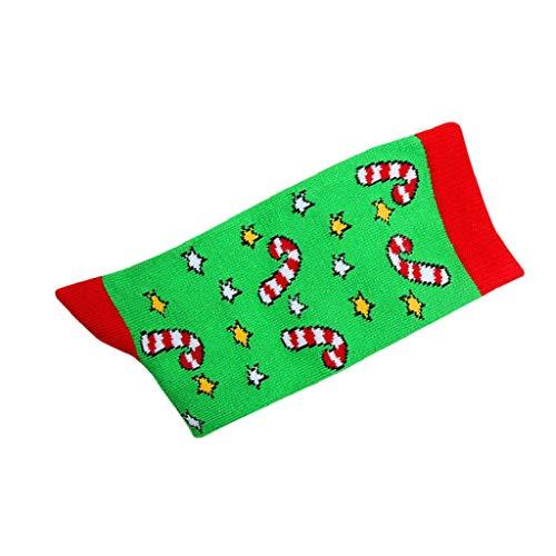 SHOBDW Mujer Calcetines Largos Lindo Regalo de Navidad de Moda Santa Claus Reno Diversión Funky Novedad Cálido Suave Señoras Calcetines para el Invierno Calcetines de Algodón Térmico C