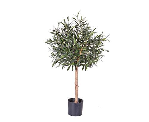 Olivenbäumchen 75cm mit 1040 Blätter und 24 Oliven - künstlicher Olivenbaum
