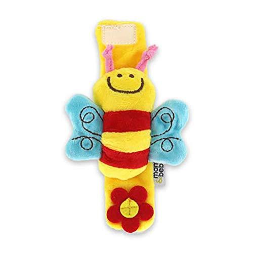 Da.Wa Infantil Piezas Animal del Bebé de la Muñeca de la Muñeca Traqueteos Correa de Muñeca Suave Juguete Educativo para Bebés (Amarillo Abeja)