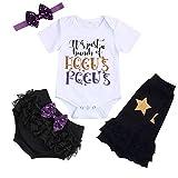 Conjunto de Ropa de Halloween para niñas y bebés, diseño de Bruja con Letras Divertidas + Funda para pañales + Diadema + Calentadores de piernas - Blanco - 6-12 Meses