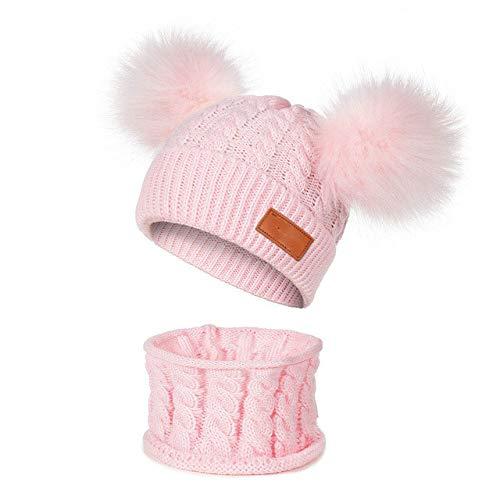 TTIAAN New Winter Hat Scarf Set for 0 2 Years Boys Girls Children Cotton Warm Pom Poms Twist Pattern Solid Color Cute Unisex Hat