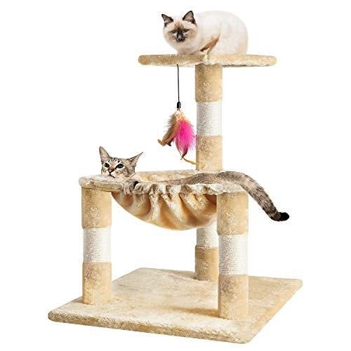 """TOYSBOOM Cat Scratching Post with Hammock - 25"""" Cat Scratch Post Tower with Bed, Natural Sisal Rope and Teasing Feather Toy, Cat Platform for Cats and Kittens"""