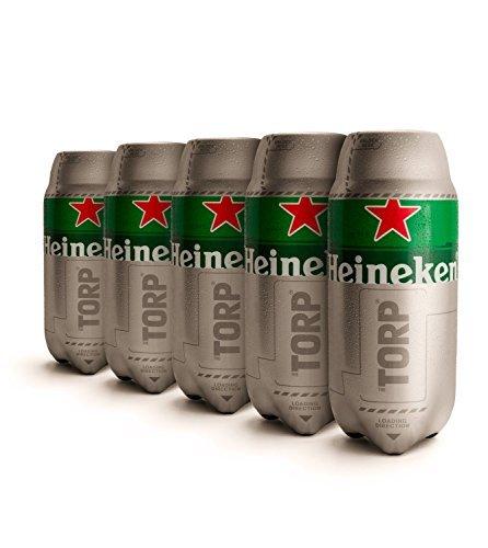 Heineken TORP 5 x 2L Packung - Bierfass kompatibel mit der Bierzapfanlage THE SUB