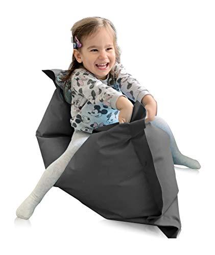 alibey Sitzsack Rechteckig Junior | Indoor und Outdoor Sitzkissen speziell für Kinder in 16 Farben (XS = 70 x 100, Anthrazit)