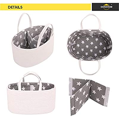 Portable Nappy Bags for Mom Baby Nappy Caddy Organiser with Changeable Compartments,Large 100/% Cotton Rope Woven Multifunctional Nappy Diaper Caddy Storage Nursery Bin Basket
