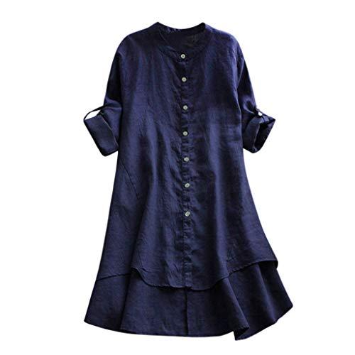 Auifor vrouwen casual wilde losse linnenfeest knoop-lange mouwen - lange hemd-blouse-bovenkant
