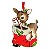 Retro Vintage Style Christmas Wood Ornaments (Reindeer Candy Cane)