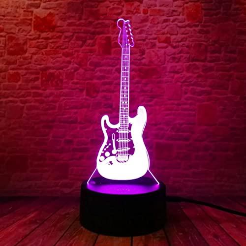 Dibujos Animados Creativos 3D Música Eléctrica Guitarra Bajo Modelo Lámpara De Ilusión...