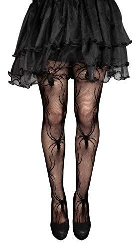 Plitsch Platsch Damen Netz Strumpfhose Spinnennetz Netzstrümpfe mit Totenkopf, Spinne, Knochen, Fledermaus Muster Halloween Fasching Gothic Party Kostüm (Spinnen)