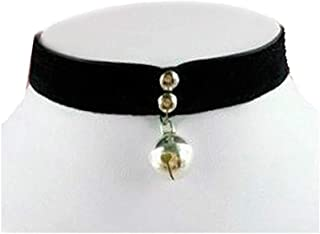 Cosplay Gothic Silvery Cat Bell Velvet Ribbon Necklace Choker