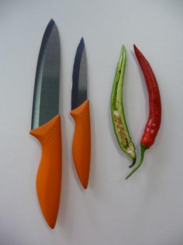 point-home 2er-Set Keramikmesser Universalmesser Kochmesser Messerset mit 100+150mm Klinge orange