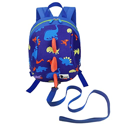 DD Rucksack Kinder Leine, Kinderrucksack Jungen Mädchen mit Brustgurt, Anti Verlorene Dino Rucksack mit Leine Kleinkind (Blau)
