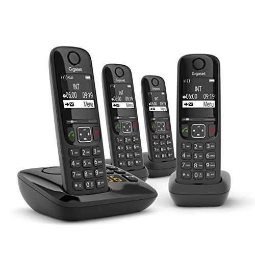 Gigaset AS690A Quattro Festnetz-/Schnurlostelefon mit Anrufbeantworter (DECT-Telefon mit 3 Mobilteilen, Freisprechfunktion, großes Display, große Tasten) schwarz