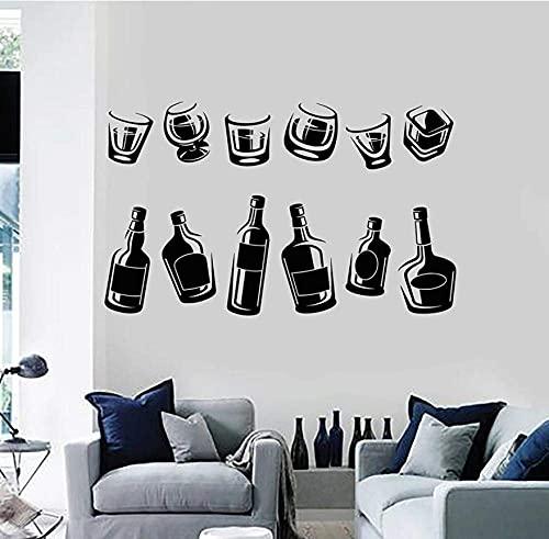 Pegatinas De Pared Calcomanías Papel Tapiz Botella De Vino Copa Para Beber Colección Copas De Alcohol Pub Bar Cocina Nevera Vinilo Arte Decoración 42X68 Cm