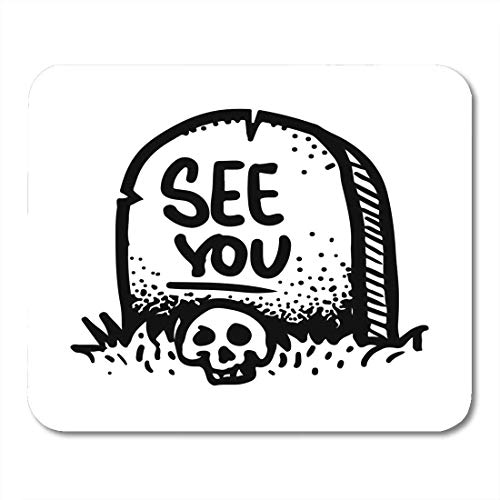Whecom Mauspad Gaming Etched Engraved Sticker Dark Humor Jokes Contemporary Street Work Sketch of The Skull and Gravestone Gaming Mauspad for Notebooks,Desktop Computers Office Supplies