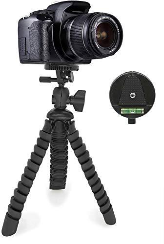 MyGadget Dreibein Kamera Stativ - Klein & Flexibel - Universal Reise Tripod mit Kugelkopf - Gelenke Kamerastativ für z.B. Canon, Nokia, Sony - Schwarz