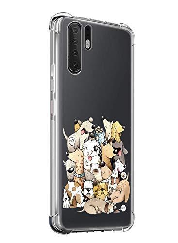 Suhctup Coque Compatible avec Huawei P20 Lite/Nova 3E,Étui Houssee de Transparent Motif Mignon [Antichoc Coussin d'air] Crystal Clear Souple Silicone TPU Bumper Protection de Cover Case,Les Chiens