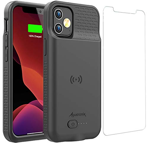 Battery Case for iPhone 12 Mini, 4000mAh Slim Portable Protective Extended Charger Cover with Wireless Charging Compatible with iPhone 12 Mini (5.4 inch) - BX12mini(Matte Black)