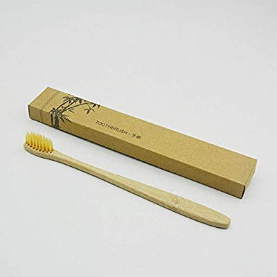 FidgetGear 20/100Pc Natural Bamboo Toothbrush Environmentally Friendly Eco Medium Oral Care Yellow 20Pcs One Size