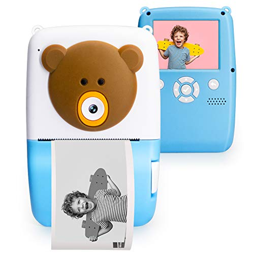 CrazyFire Instant Camera for Kids, Kids Camera with Print Paper,Puzzle Game,Kids Digital Camera with 1080P HD Video,Toy for Boys and Girls