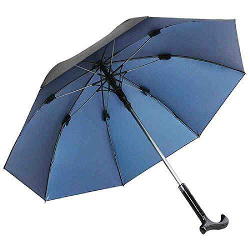BJDKF paraplu Multifunctionele oudere wandelstok paraplu lange handvat zon paraplu mannen, Blauw