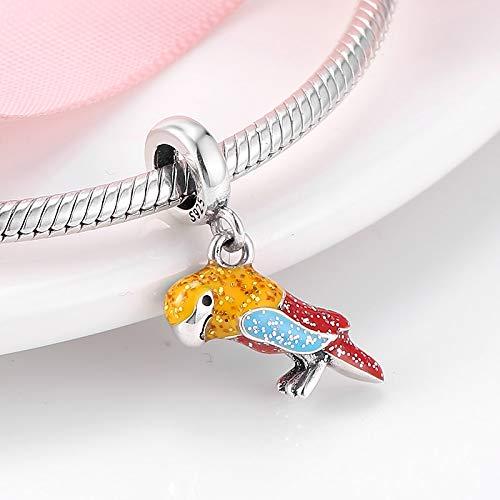 LFDHG 925 Sterling Silber Mode Bunte clevere Papagei Emaille Perlen Charms Fit Original Charm Armband Schmuckherstellung