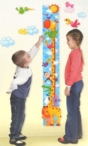 Giraffe Height Chart Wall Stickers : Monitor your Toddlers Growth with this Colourful Safari Wall Art Decoration : Perfect for a Childs Bedroom or Baby Nursery : The Design features other Safari Animals Including : Lion, Zebra, Monkey & Crocodile : A Wonderful Educational Tool & Fun Gift Idea!