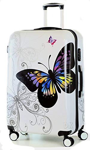 DK Luggage Lightweight ABS Polycarbonate Hardshell Medium 24' Suitcases 4 Wheel Spinner Butterfly