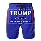 Donald Trump for President 2020 Keep America Great Mens Summer Casual Board Shorts Quick Dry Beach Shorts with Pockets White
