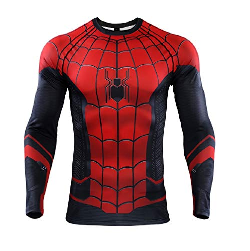 HAMISS Spider Panty Hero Expedition Compressie Shirt 3D Print T-Shirt Fitness Gym Lange mouw