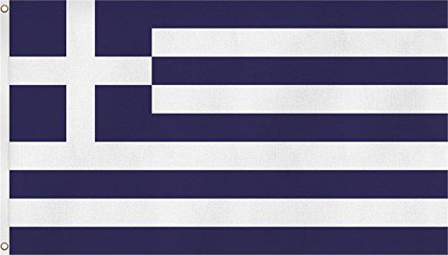 FahnenMax Drapeau avec deux œillets métalliques de fixation sur mât) – Taille 90 x 150 cm, - Grèce, 90x150