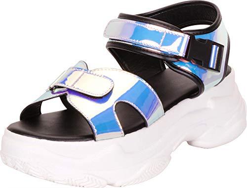 Cambridge Select Women's Retro 90s Holographic Iridescent Chunky Ugly Dad Athleisure Platform Sandal,8.5 B(M) US,Purple Iridescent Patent PU