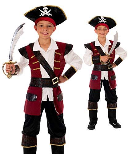 Magicoo - Disfraz de capitn pirata para nios, color rojo y dorado, talla 120-130