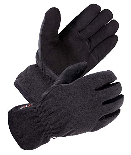 SKYDEER Mens Winter Work Gloves with Soft Premium Genuine Deerskin Suede Leather and Warm Windproof Polar Fleece (SD8661T/M)