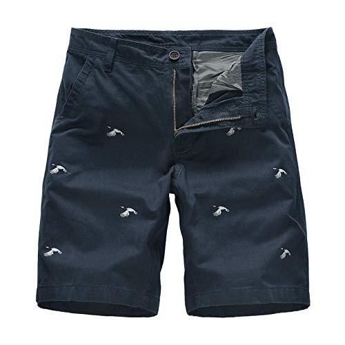 Hiking Secado Rápido Shorts Core Pants de Tenis Running Fitness Gimnasio AtletismoPantalón Casual de Cinco Puntas Bordado de algodón-Azul Marino_32