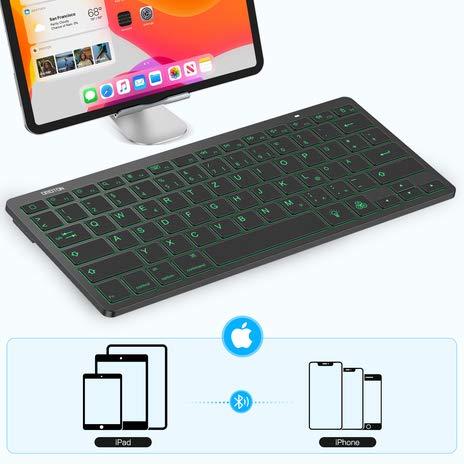 OMOTON aufladbare Bluetooth Tastatur für iPad, beleuchtete kabellose Tastatur für iPad 10.2 2020/2019 (8th Generation), iPad Pro 11/12.9 (2018/2020), iPad Air 3/2/1 und andere iOS Gerät, Schwarz