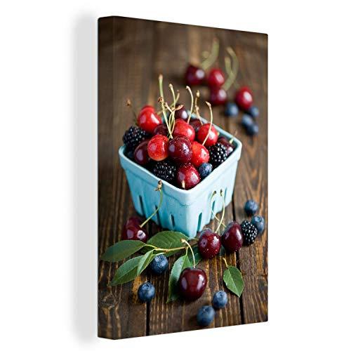 MuchoWow Leinwandbild Bake Beeren Leinwand 20x30 cm - Kleine - Foto auf Leinwand - Gemälde auf 2cm dicken Holzrahmen - Wanddekoration für Wohnzimmer/Schlafzimmer