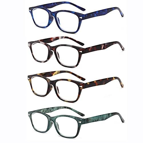 LGQ 4 Pares de Gafas de Lectura para Mujer, Gafas de Montura Completa de PC de Moda, Lentes de Resina de Alta definición antifatiga, dioptrías +1,00 a +3,00,Mixing,+1.00