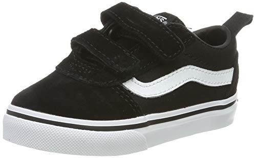 Vans Ward V-Velcro Suede, Zapatillas Unisex niños, Black/White Iju, 24 EU