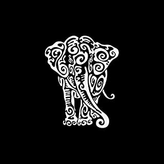 Decal Stickers Elephant Tribal Tattoo Design Doors Motorbike Boat (5 X 4 in.) Vinyl Color White