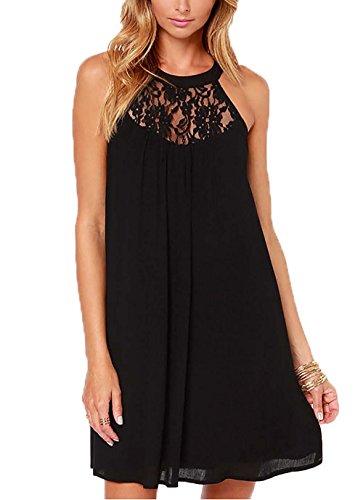 DREAGAL Womens Summer Special Occasion Lace Chiffon Wedding Dress Black X-Large (Apparel)