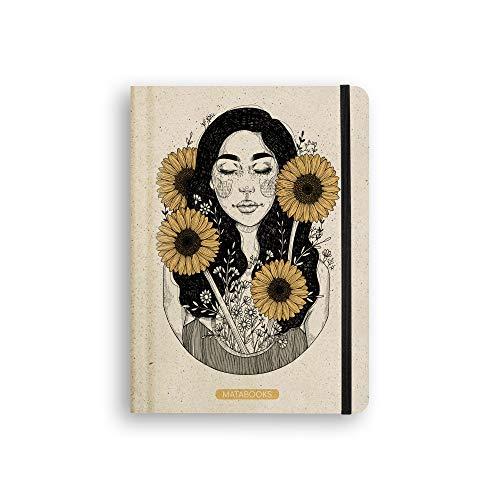 Matabooks, nachhaltige und vegane Notizbücher A5 aus Süßgraspapier, Nari, 138 Seiten, Natur, Handmade, Made in Germany (Sunflower (liniert))