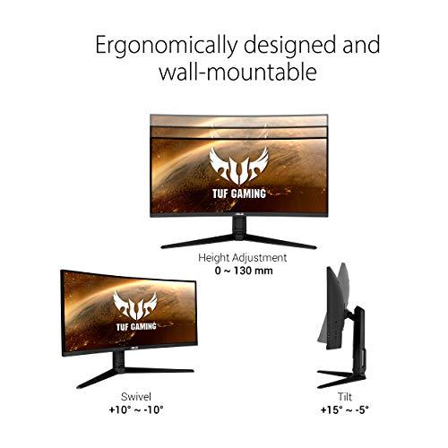 "ASUS TUF Gaming VG34VQL1B 34"" Curved HDR Monitor, WQHD (3440x1440), 165Hz, 1ms, Extreme Low Motion Blur, FreeSync Premium, Eye Care, DisplayPort HDMI USB, Height Adjustable, DisplayHDR 400, Black"