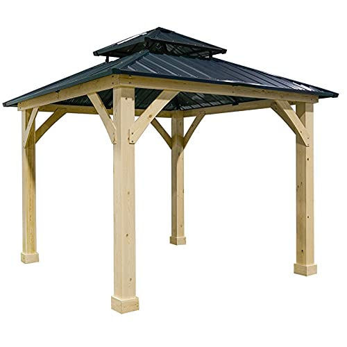 10'x10' Outdoor Patio Hardtop Gazebo Double Steel Roof Solid Wood Frame Gazebos for patios Canopies, gazebos & pergolas Party Tent Shade Canopy Patio Shade Gazebo Outdoor Tent Grill Gazebo