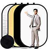 Konseen 4 in 1 Collapsible Pop Up Backdrop Reflector Panel for Photographys 1.5x2 M/5x6.5feet Chromakey 100% Cotton Muslin Black White Reversible Photo Background Screen with Carry Bag