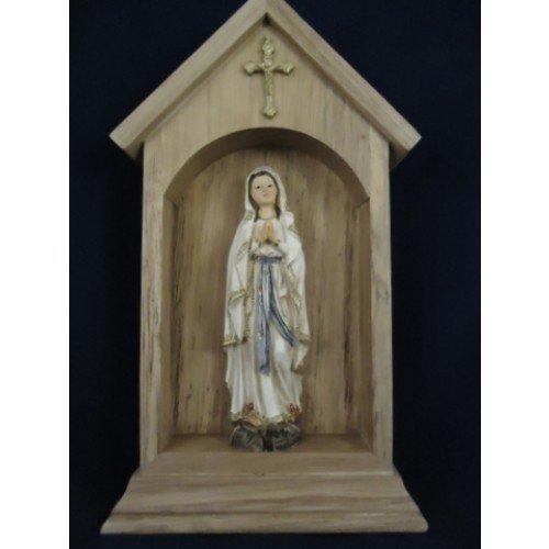 Immagini Statue Sacre Grotta Casa Di Legno Madonna Di Lourdes h 22,5 cm In Resina Paben