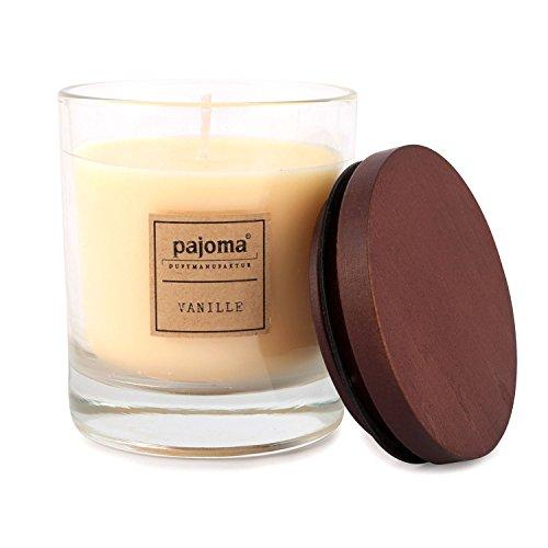 Unbekannt Pajoma Duftkerze Vanille, 180 g, im Glas mit Holzdeckel, NEU Premium Edition, für Circa 25 Stunden