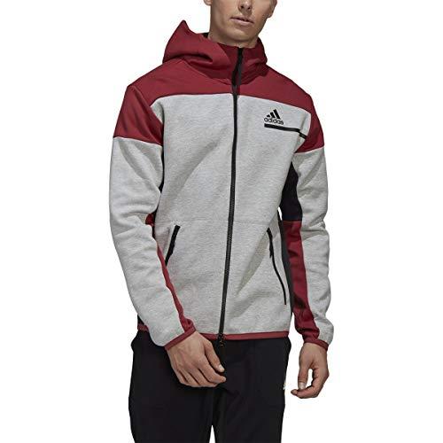 adidas Z.N.E. Full-Zip Hoodie - Men's Casual M Medium Grey Heather/Legacy Red