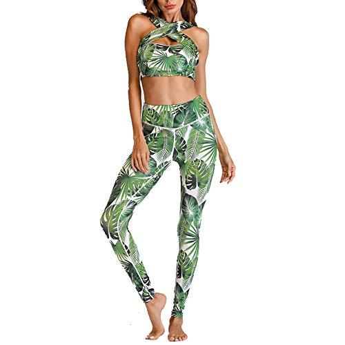 CiKiXZ Tuta da yoga con stampa floreale sportiva Crop Top e pantaloni elasticizzati stretti per palestra, pilates, yoga, fitness, allenamento completo da donna Verde M