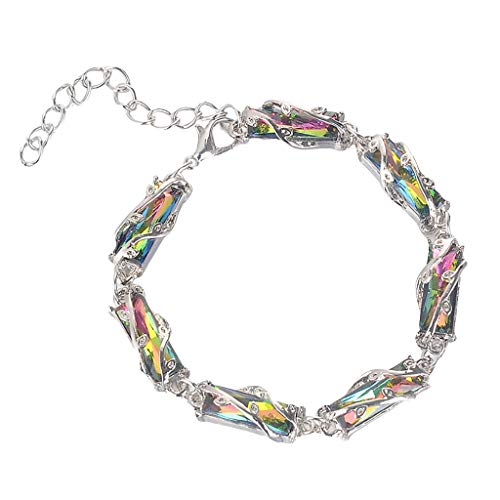 jieGorge Ladies Bracelet Fashion Multi-Piece Geometric Square Colored Gemstone Crystal Bracelet, Give The Lady The Best Christmas Birthday Gift'
